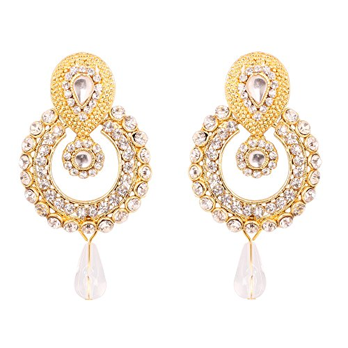 Touchstone Indian Bollywood Old Polki Kundan Look Jewelry Pretty Design Earrings In Antique Gold Tone