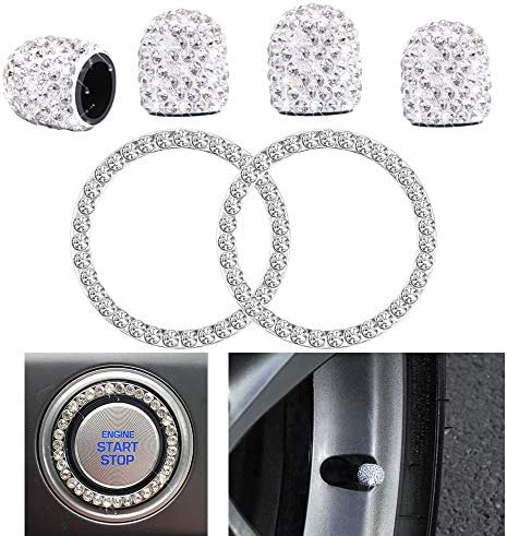 HX Online 4PCS Crystal Rhinestone Universal Stem Covers2Pcs Car Shine Crystal Rhinestone Bling Sticker Emblem Ring for Car Engine Ignition Button Key & Knobs Unique Gift (Silver)