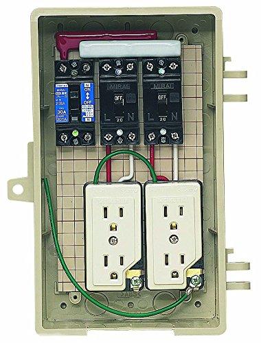 未来工業 屋外電力用仮設ボックス 漏電しゃ断器分岐ブレーカコンセント内蔵 ELB組込品 2A-2CT B01HRR2B96