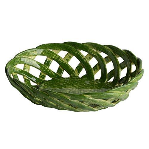 Italian Dinnerware - Green Oval Small Bon Bon Basket - Handmade in Italy from our Intrecci (Bon Oval Basket)