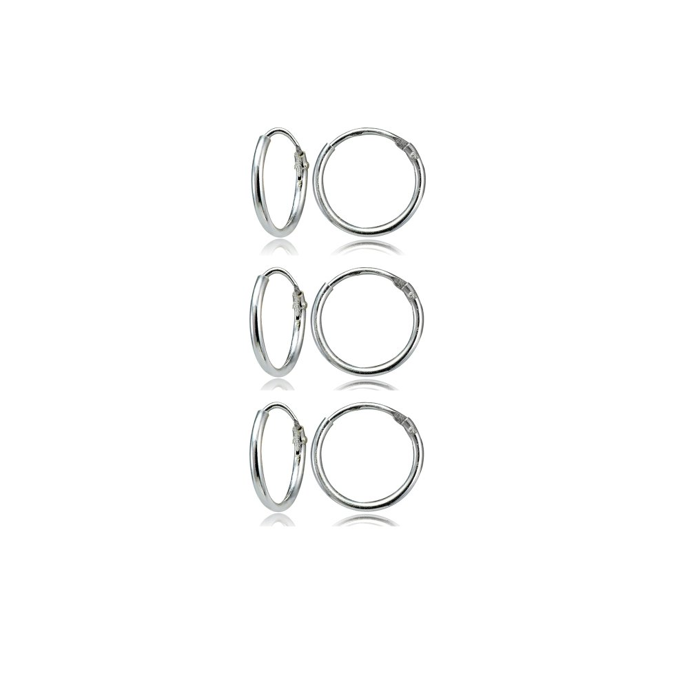 Sterling Silver Small Endless 12mm Round Unisex Hoop Earrings, Set of 3 Pairs