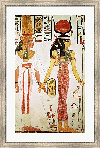 Isis and Nefertari, from The Tomb of Nefertari Framed Art Print Wall Picture, Silver Scoop Frame, 28 x 42 inches ()