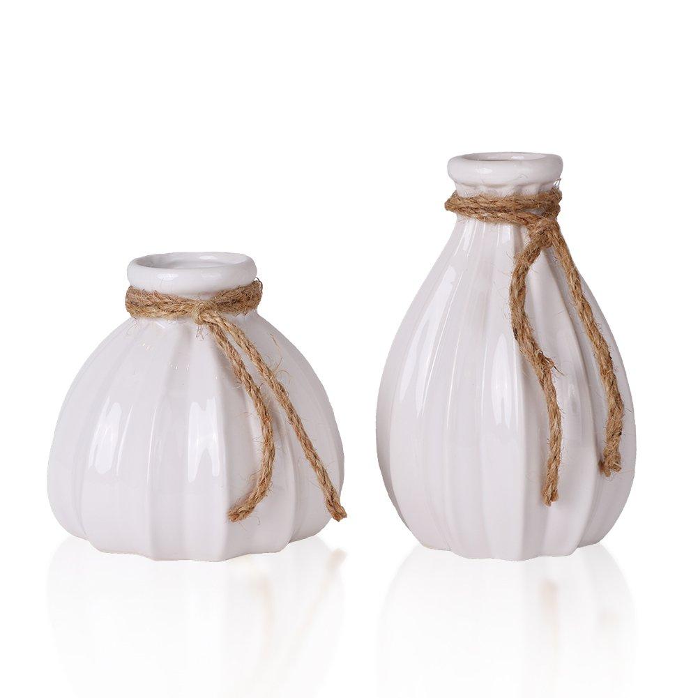 Hannah's Cottage White Flower Vase Handmade Modern Ceramic Vase with Hemp Rope Design for Home Decor Living Room, Office and Wedding (26.5cm/10.4