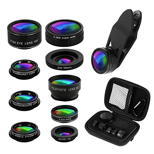 Phone Camera Lens Kit, 9 in 1 Zoom Universal Telephoto Lens+198° Fisheye lens + 0.36 Super Wide Angle Lens + 0.63X Wide Lens +20X Macro Lens + 15X Macro Lens + CPL + Kaleidoscope Lens + Starburst Lens (Iphone Camera Lens)