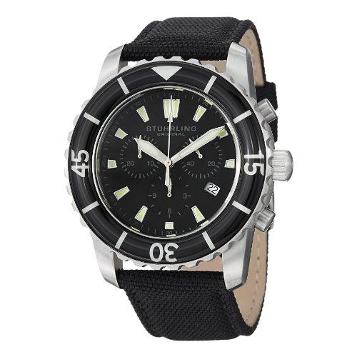 Stuhrling Original Men's 3268.02 Aquadiver Felucca Analog Display Swiss Quartz Black Watch