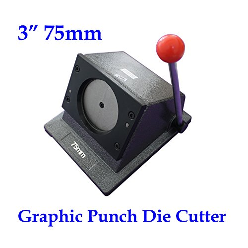 "Round 3"" 75mm Multi Sheets Stack Paper Graphic Punch Die Cutter Button Maker"
