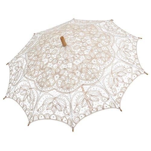 Remedios(19 colors) Ivory Vintage Bridal Wedding Cotton Lace Parasol Umbrella