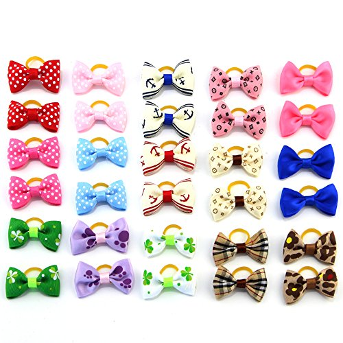 MEWTOGO-30-pcs15-pairs-Pet-Hair-Bows-With-Rubber-Bands-Dog-Hair-Accessories-with-Different-Pattern-rubber-band