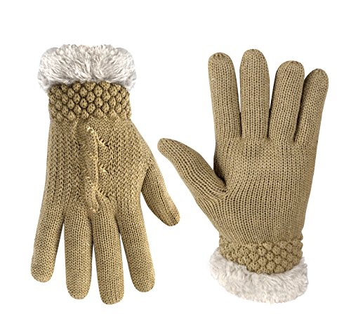 Peach Couture Classic Cable Knit Plush Fleece Lined Double Layer Winter Gloves