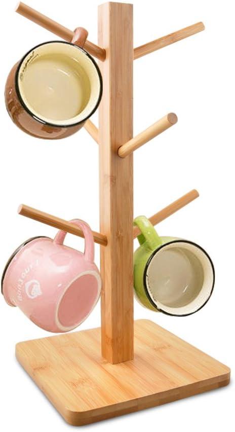 Removable Bamboo Mug Stand Cuteadoy Mug Rack Tree Storage Coffee Tea Cup Organ