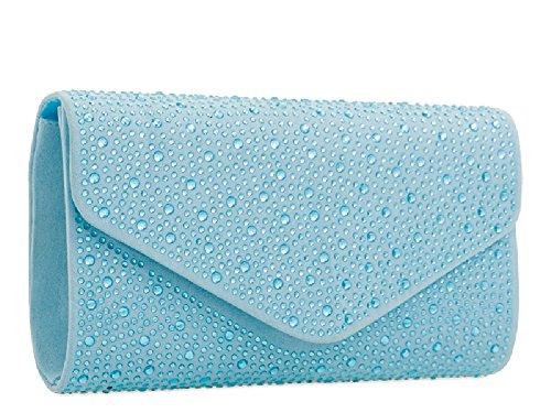 Women's Glitter Clutch Navy Faux Rain KH2209 Drop Suede Handbag Ladies Envelope Diamante Bag U0Eqq