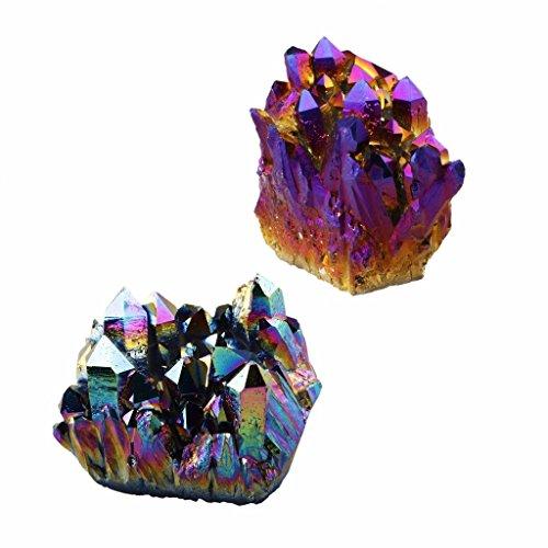 - rockcloud Natural Titanium Coated Rainbow/Purple Crystal Quartz Cluster Geode Druzy Home Decoration Gemstone Specimen(Pack of 2)