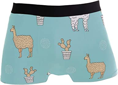 SUABO Mens 2-Pack Boxer Briefs Polyester Underwear Trunk Underwear with Llamas Design