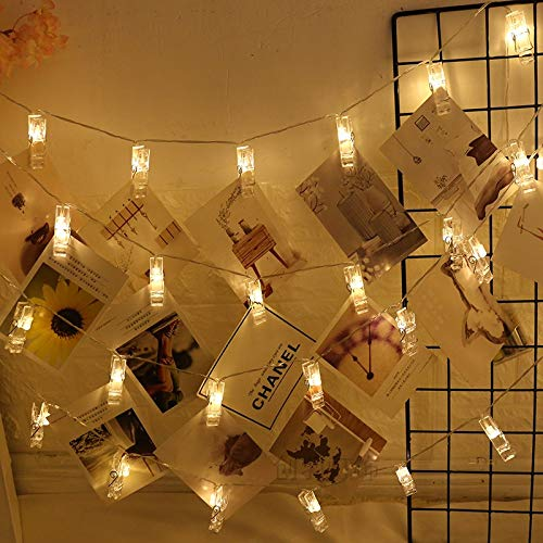 Alyattes Photo Clips String Lights Christmas Lights Starry Light Wall Decoration Light for Hanging Photos Paintings Pictures Card and Memos, Battery Powered (40 LED Warm White) by Alyattes (Image #9)
