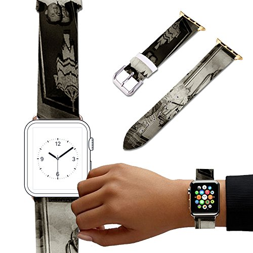 Coronation Natural - For Apple Watch, Natural color Floral Printed Leather Watch Band 38mm 42mm Strap for Apple Watch 3, 2, 1 Flower Design Wrist Watch iwatch Bracelet-088.Coronation of King Bhumibol Adulyadej