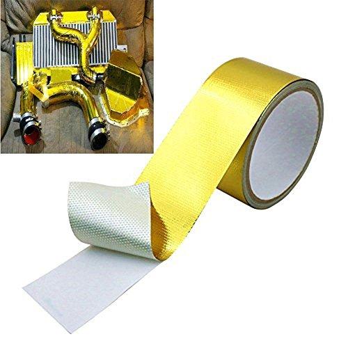 ZHUOTOP 5M Length 16ft Golden Fiberglass Wrap Barrier Tape Heat Shield Roll Exhaust Car (Wrap Around Heat Shield)