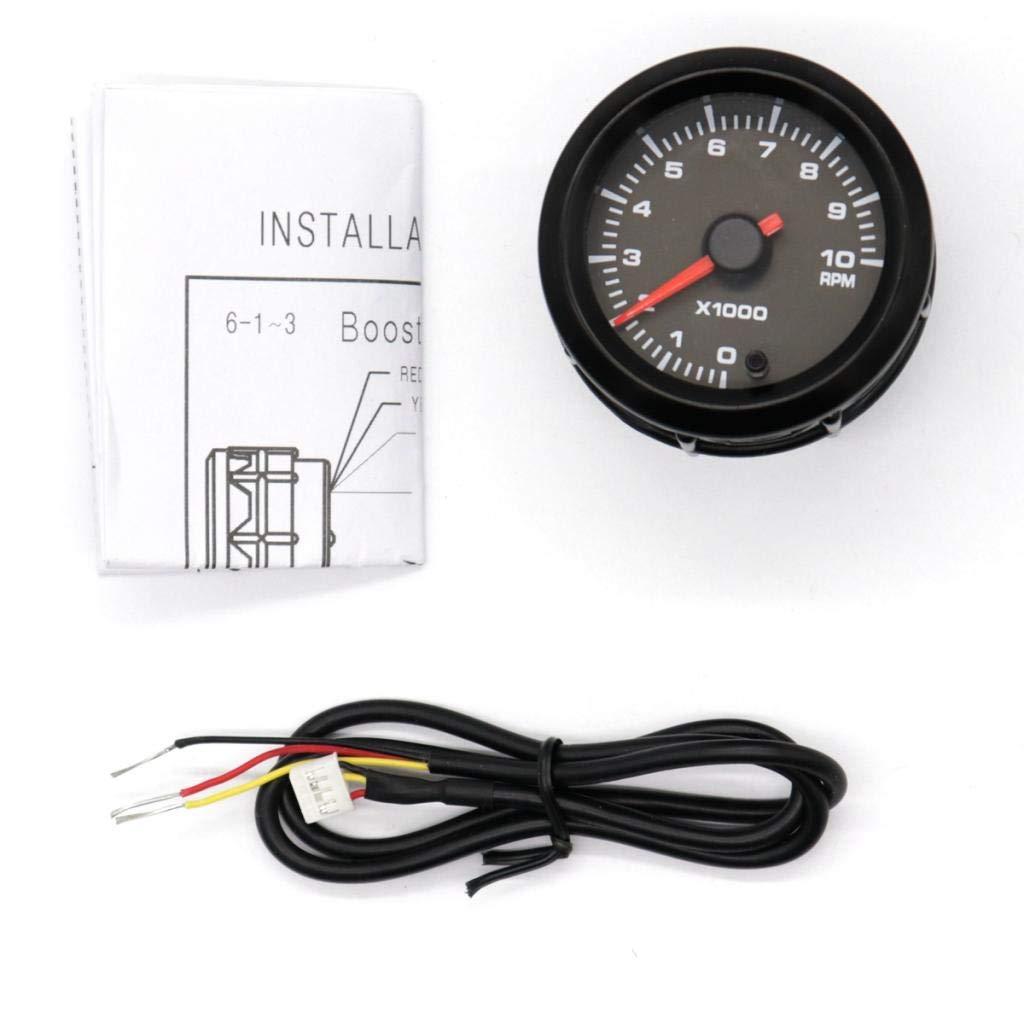 Baoblaze Universal Car 2 Inch 52mm Tachometer Tach RPM Gauge 7 Color LED Display