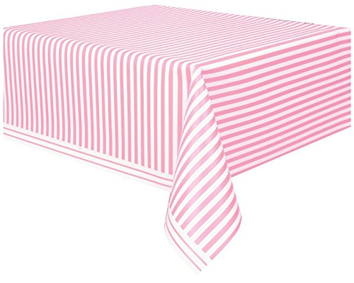(Plastic Light Pink Striped Table Cover, 108