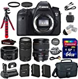Canon EOS 6D 20.2 MP Full-Frame CMOS Digital SLR Camera with Canon EF 28-135mm IS USM Lens, Canon EF 50mm STM Lens, Canon EF 75-300mm Lens and Transcend 64GB Memory Card