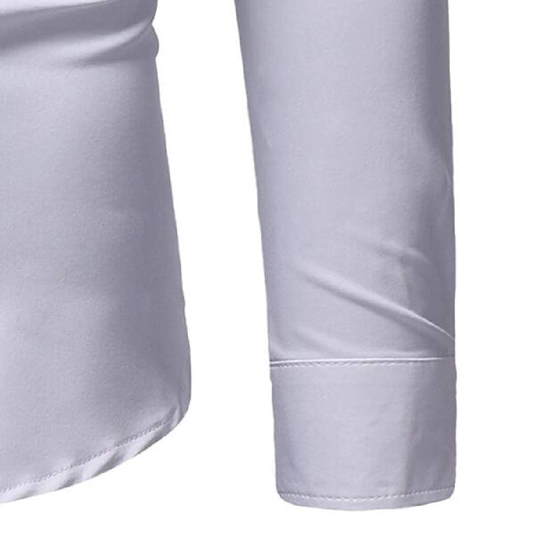 X-Future Men Shirts Casual Formal Long Sleeve Button Up Dress Shirt Top