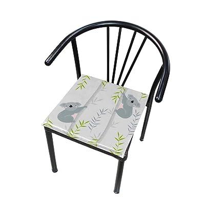 FICOO Home Patio Chair Cushion Animal Koala Bamboo Square Cushion Non-Slip Memory Foam Outdoor Seat Cushion, 16x16 Inch: Home & Kitchen