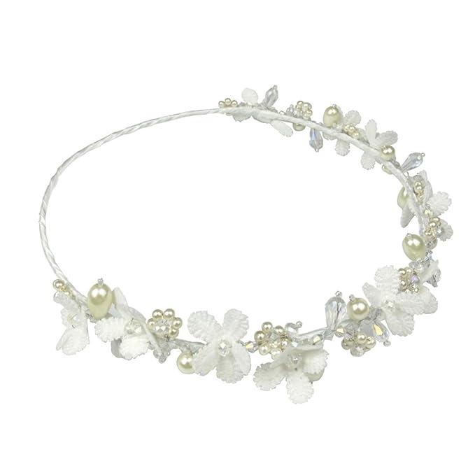668111ce1 Amazon.com: Women Children Party Wear Wedding Flower Girl Primrose Pearl  Hair Garland: Clothing