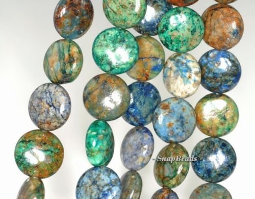 12MM Chrysocolla Gemstone Green Blue Flat Round Circle Coin Loose Beads 15.5'', (Flat Circle Beads)
