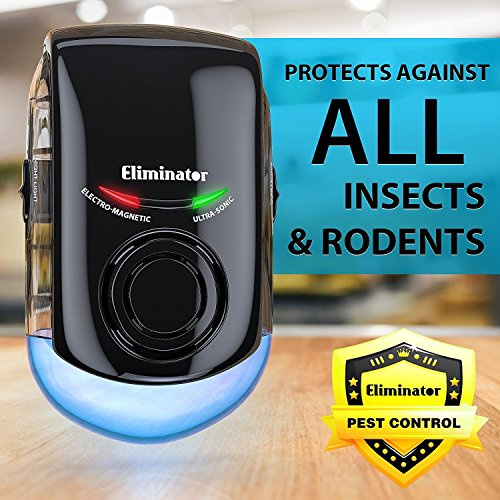 Eliminator Plug-in Electric Pest Repeller Deterrent with LED Night Light – Eradicates All Types of Insects and Rodents, Mice, bugs, Etc. Pest Control Solution [UPGRADED VERSION] (Plastic Version Control)