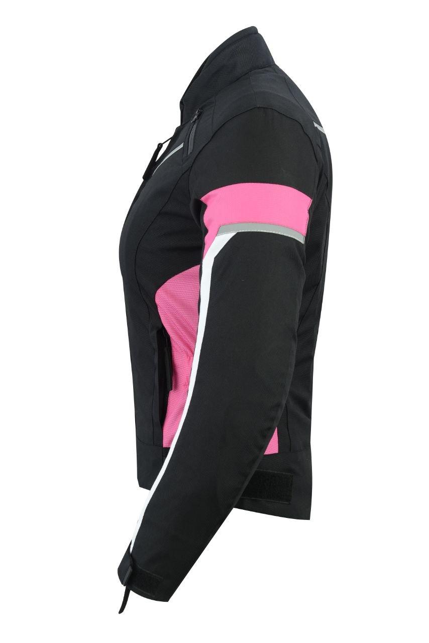 LeatherTeknik Donna motocicletta blindata alta protezione impermeabile giacca nero//rosa Armour wcj-1834pink