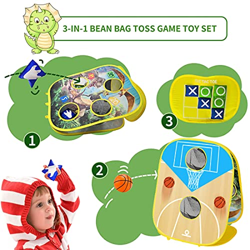 Jtboo Collapsible Portable Bean Bag Toss Game for Kids Easter Board Games, 6 Score Holes 8 Beanbags 6 Small Basketballs ,Tic Tac Toe Game, Kids Toddlers 3-9Year Old Family Outdoor Indoor Yard Games