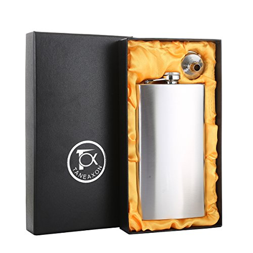 TOX TANEAXON 12 oz Classic Pocket Whiskey Liquor Hip Flask with Funnel and Premium Box - Stainless Steel and Leak Proof ()