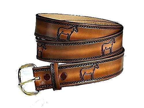 "MULE HINNY JENNY DONKEY JOHN MOLLY CUSTOM HANDMADE LEATHER BELT 1 1/2"" WIDE"