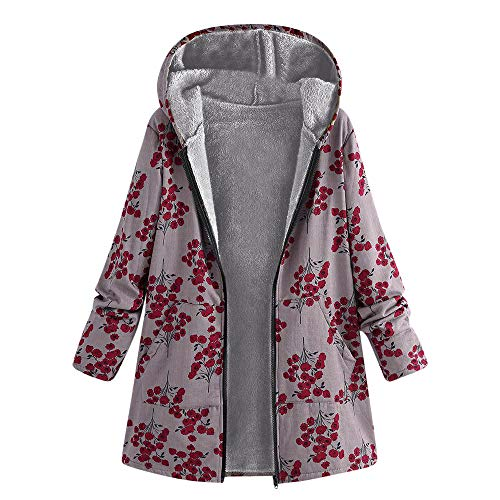HULKAY Women Tops Upgrade Long Sleeve Zip Thick Composite Plush Retro Plant Print Plus Size Hooded Jacket(Red 3,4XL)