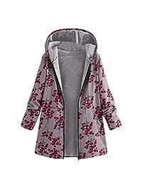 Pervobs Womens Winter Outwear Floral Hooded Pockets Coats Jacket Outwear Parka