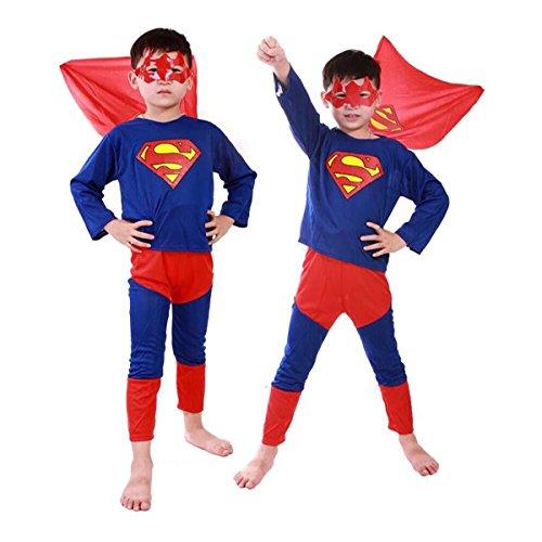 WELLIN Super Hero Children's Costumes Suit Full Set , Mask Shirts Pants (4, Superman)
