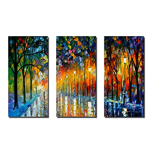Art Canvas Abstract Giclee Urban - Hi-fun 3Pcs Modern Giclee Landscape Canvas Prints Abstract Urban Love Rain Street Wall Art Decorative Picture for Home Frameless Painting (25x50inchx3pcs)