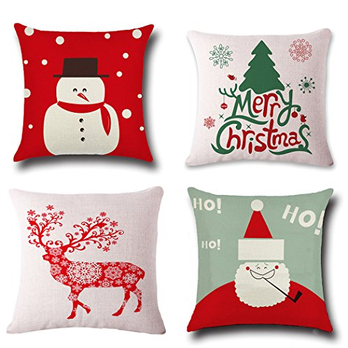 Christmas Pillow Covers 4 Pack,BPFY Print Snowman,Christmas Tree,Christmas Deer,Santa Claus, Merry Christmas Decorative Sofa Throw Pillow Case Cushion Covers 18 X 18 Inch,Cotton Linen (Christmas Cushions)