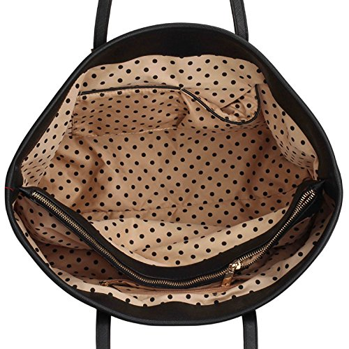 ANNA GRACE - Bolso al hombro de piel sintética para mujer Design 1 - Black