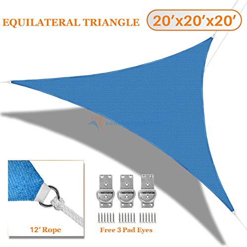 Sunshades Depot 20X20x20 Sun Shade Sail Equilateral Triangle Permeable Canopy Ice Blue Custom Size Available Commercial Standard