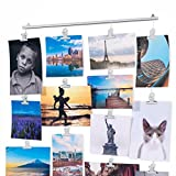 BHG Hanging Picture Display Photo Holder with Strings and 20 Magnetic Clips Metal White