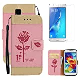 For Samsung Galaxy S5 Wallet Case Holster with Screen Protector ,OYIME [Lovers Under Rose] Design Leather Kickstand Magnetic with Card Holder Full Body Protective Flip Cover - Pink
