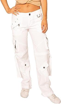 Fascinate Collection Pantalón algodón elástico de Cargo Estilo Ancho y Suelto para Mujer - Blanco - 40: Amazon.es: Ropa y accesorios