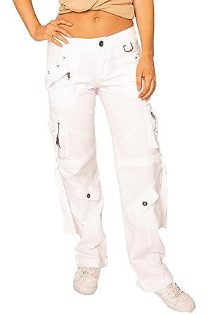 360d62fe6d66 Fascinate Collection Pantalon Cargo Utilitaire pour Femme Coupe Large et  Loose - Blanc - 34