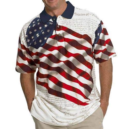 (Men's Stars & Stripes Polo T-Shirt (S, Natural) )