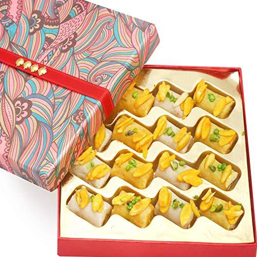 Ghasitaram Gifts Diwali Gifts Sweets- Sugarfree Mini Assorted Kaju Rolls in Pink - Roll Kaju