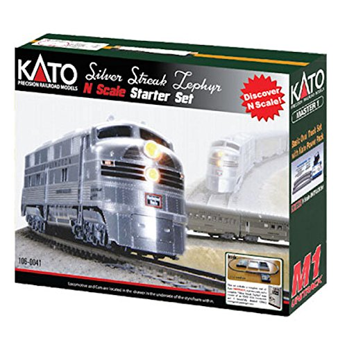 Kato USA Model Train Products N CB&Q Streak Zephyr UNITRACK Starter Set, Silver from Kato USA Model Train Products