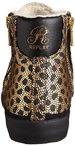 Replay Solar High-Top Sneaker Damen Gold/Schwarz Typ RV610006S Gefüttert