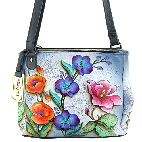 Anuschka Hand Painted Large Double Entry Shopper (Floral Fantasy) (Floral Shopper)
