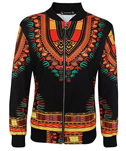 Domple Women's Casual Pockets Dashiki African Print Bomber Zipper Jacket Black 3XL by Domple (Image #1)