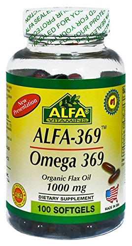 Alfa 369 / Omega 369 / Flax Seed Oil / 1000 Mg / 100 Softgels